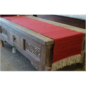 Red Fringe Table Runner