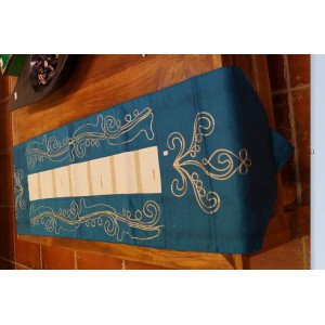 Blue Table Runner  - With White and Gold