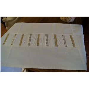 White  and Gold Calico Table Runner