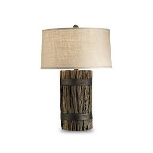 Balinese Tree Stump Lamp  (Cream Shade)