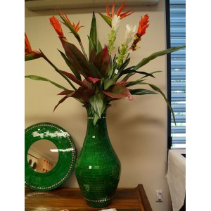 Green  Mosaic Pot (Hand Crafted) - Flowers not included