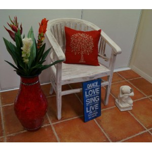 Balinese Teak Chair (White Wash)