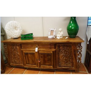 Solid Teak Carved Buffet - Hand Carved