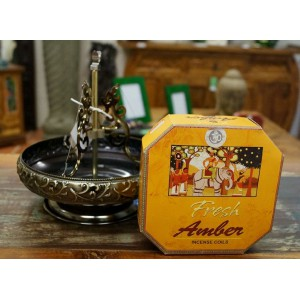 Asian Inspired Incense Coil and Holder Package (Fresh Amber Coils)