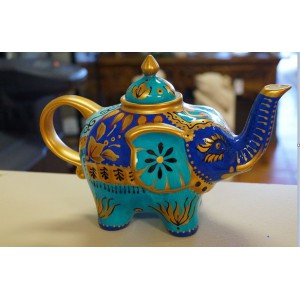 Hand Painted Blue Elephant Teapot