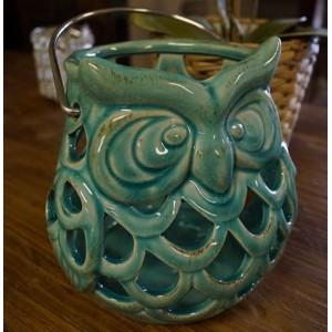 Green Ceramic Owl Candle Holder