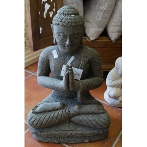 Solid Green Stone Sitting Praying Buddha  Statue (60 cm)