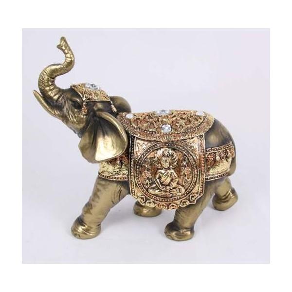 Gold Plated Elephant Statue Jade Pagoda