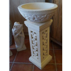 Frangipani Pillar and Bowl   (100 cm  Tall )
