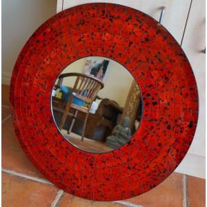 Red Ceramic Round Mirror (60cm)
