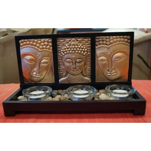 Triple Gold Buddha Candle Holder