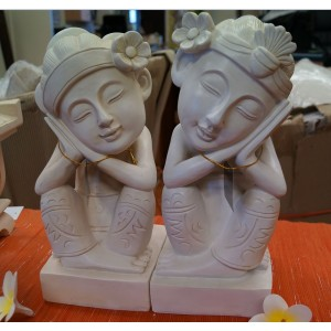 Set of 2  - 30cm Cream Balinese Buddhas