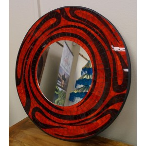 Red  and Black Swirl Mosaic Mirror