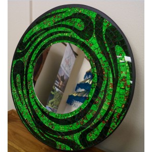 Bright Green Swirly Mosaic Mirror