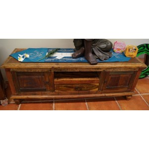 Boat Teak Tv Console (with hint of green)