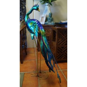 Metal Peacock Garden Statue  - 107 Cm - Head Backward