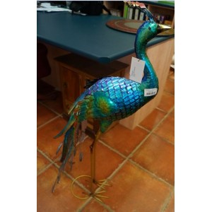 Metal Peacock Garden Statue  - 107 Cm - Head Forward